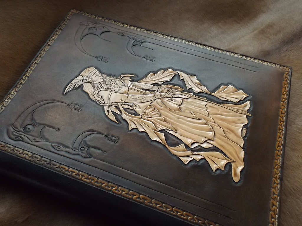 Leather tooled bookcover by CreationsMJF 1024x768