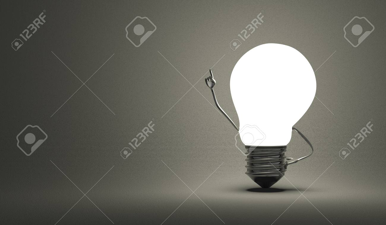 Glowing Light Bulb Character In Moment Of Insight On Dark Gray 1300x760