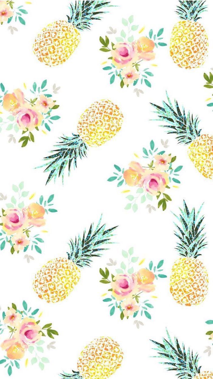 girly backgrounds pineapplaes flowers drawings white background in 700x1245