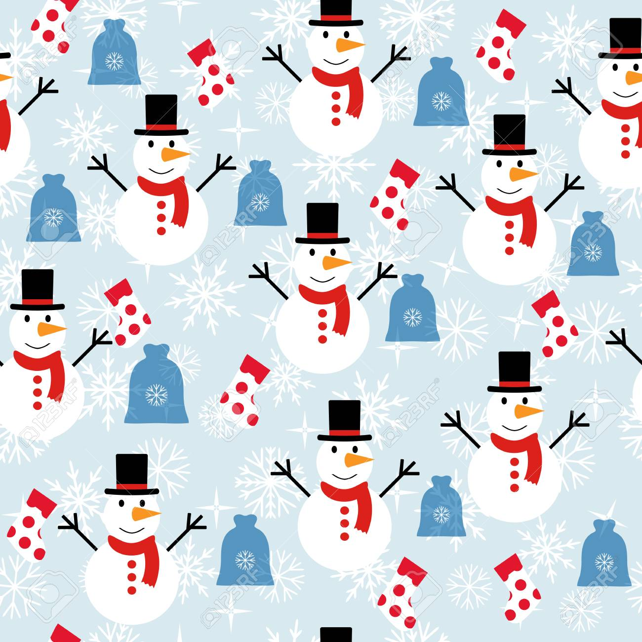 Seamless Pattern With Snowmen Background With Snowflakes Vector 1300x1300