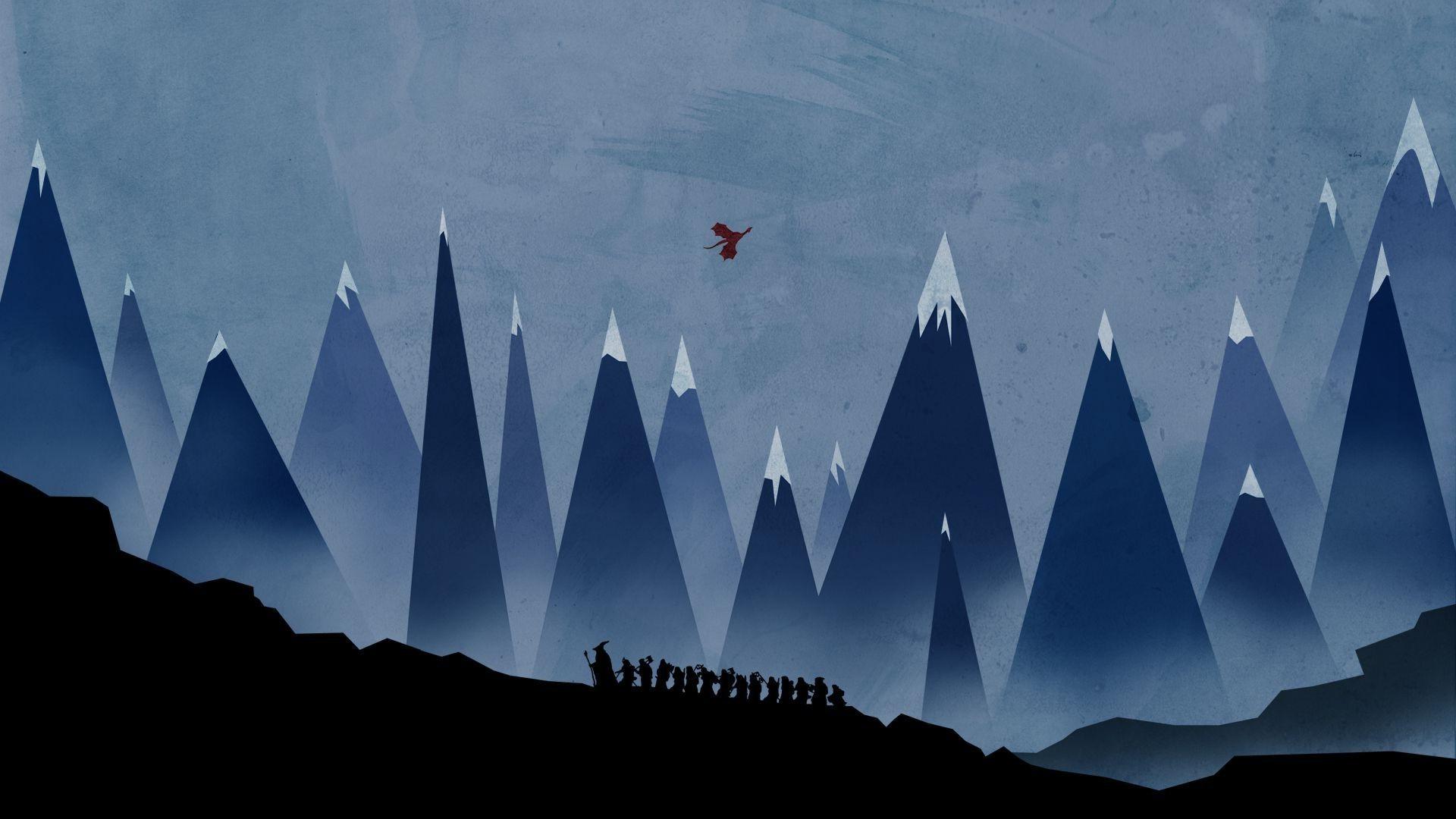 The Hobbit Minimalism Gandalf Mountain Smaug Wallpapers HD 1920x1080