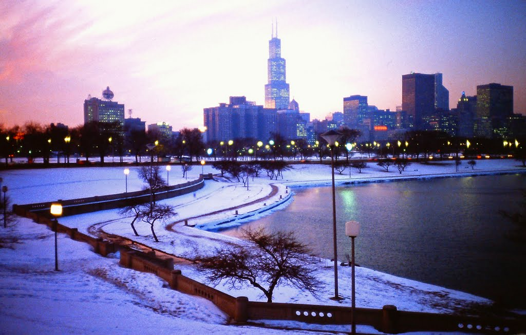 Chicago Skyline Winter Wallpaper Desktop Wallpapersafari