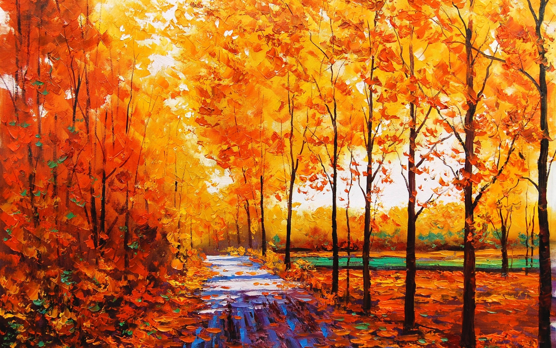 Treesart Nature Forest Sidewalk Oil Color Fall 1920x1200