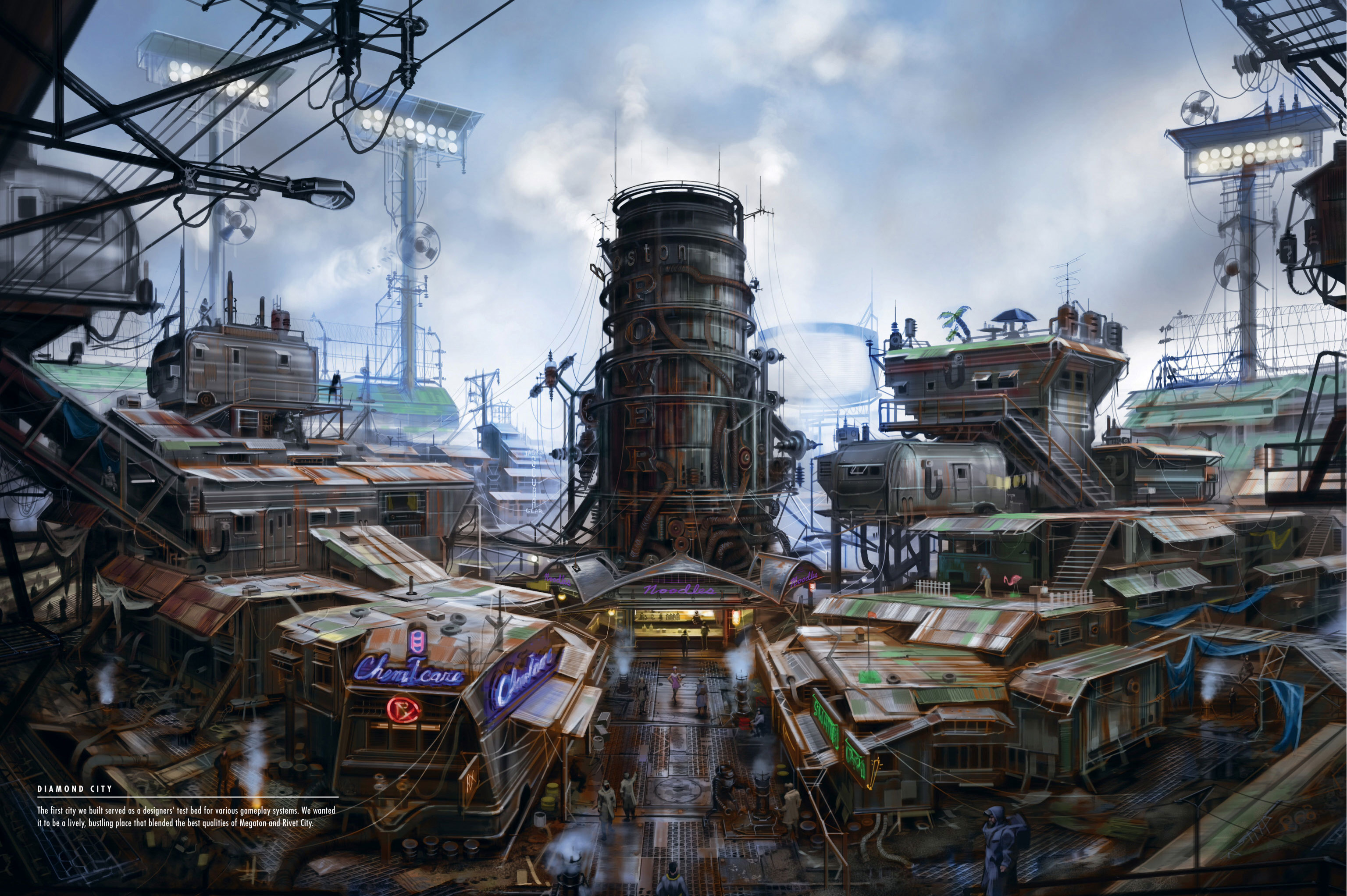 My Favorite Desktop Wallpaper Diamond City Concept Art fo4 3072x2044