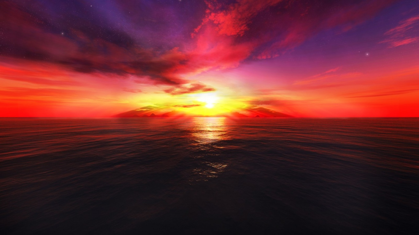 Free Download 1366x768 3d Sunset 1366x768 For Your Desktop