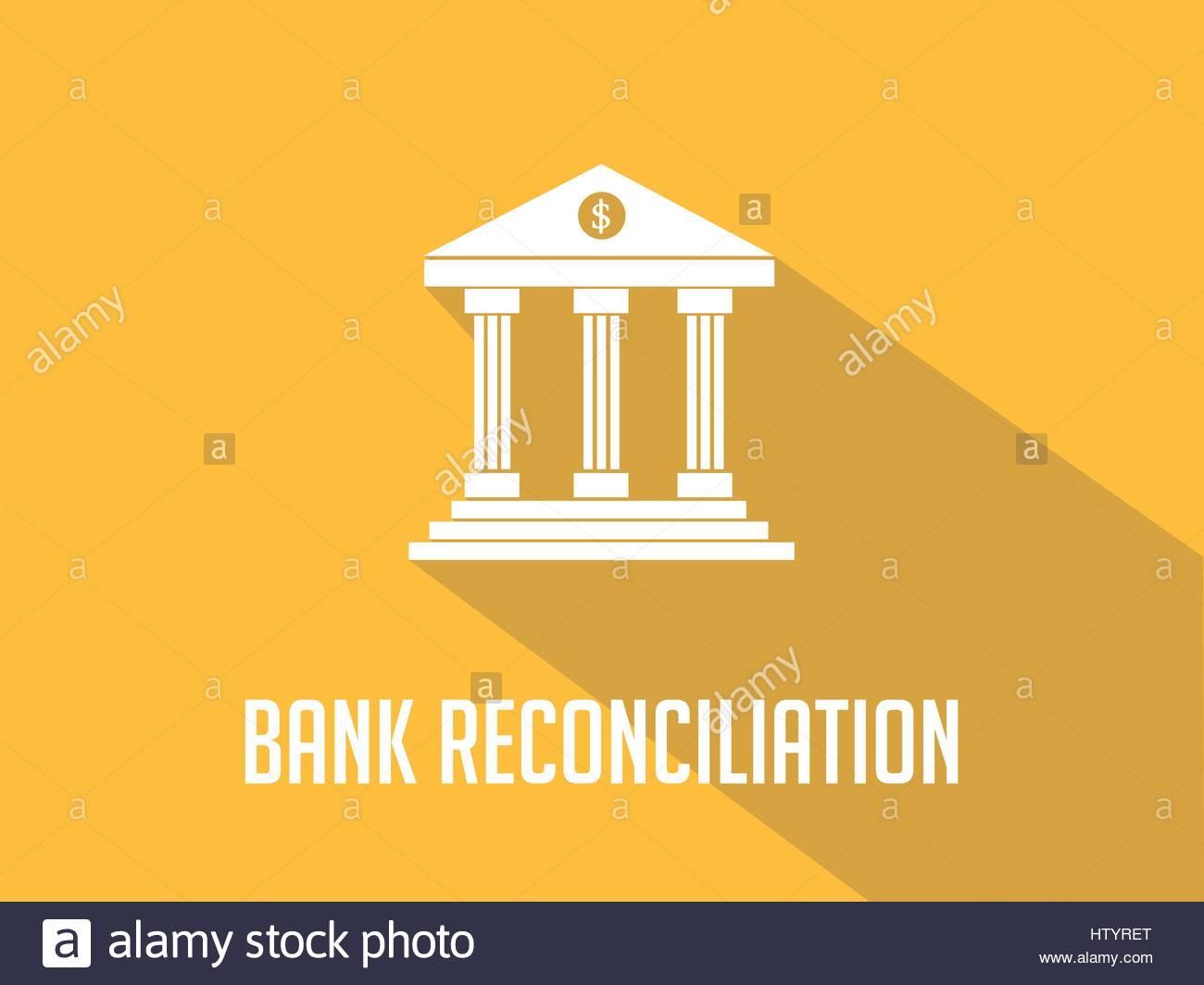 Bank reconciliation white text with bank office building 1300x1064