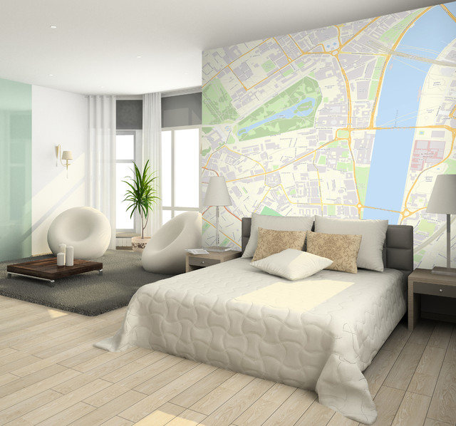 Custom Postcode wallpaper   Contemporary   Bedroom   london   by 640x598