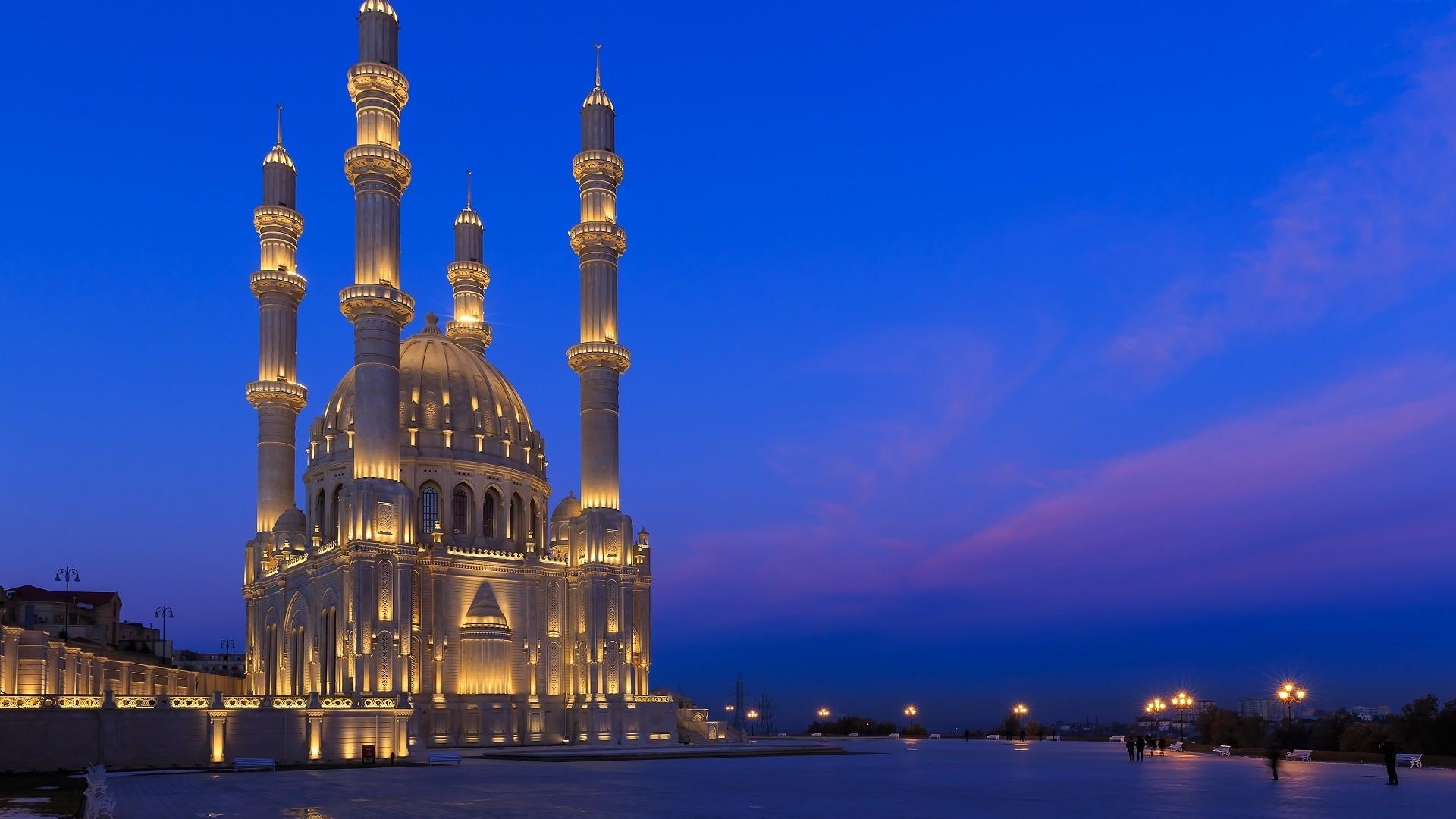 Download 1920x1080 Heydar Mosque Azerbaijan Baku Lights Night 1920x1080