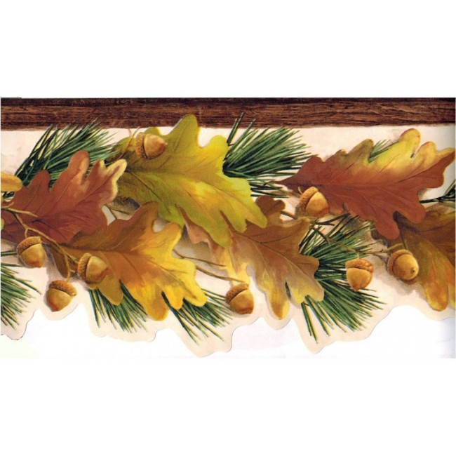 Lodge Fall Autumn Laser Cut Leaves and Acorns Wallpaper Border   All 4 650x650