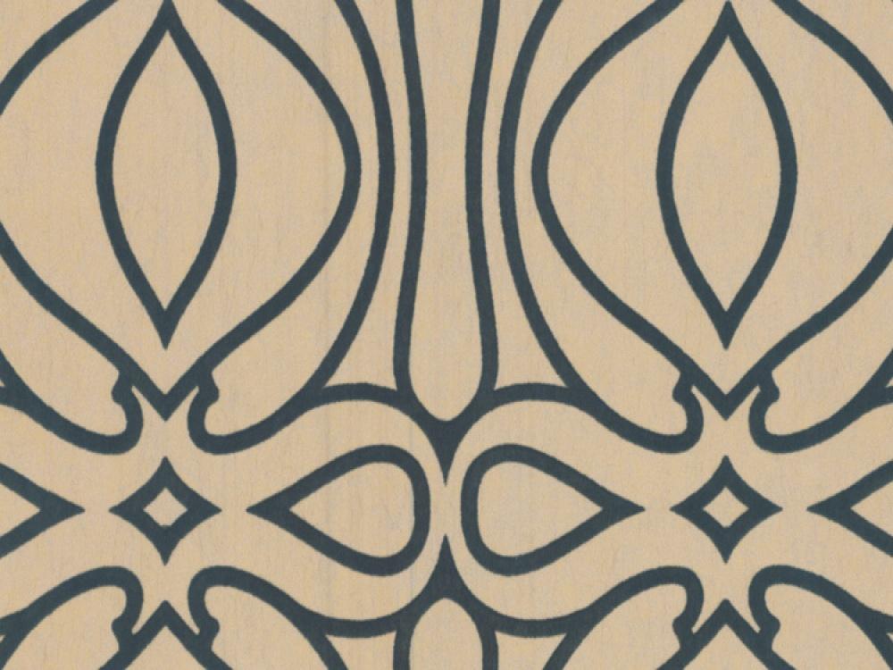 Barbara Hulanicki Baroque Gold Flock Geometric Wallpaper 1000x750