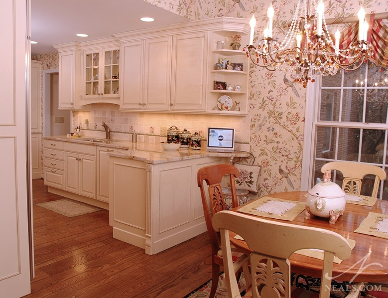 chinoiserie style wallpaper in this Neals kitchen and breakfast 779x598