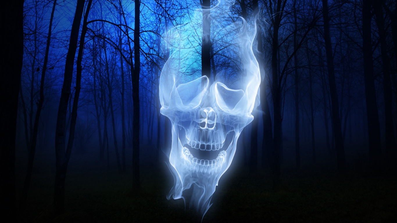 1366x768 Forest Skull Ghost desktop PC and Mac wallpaper 1366x768