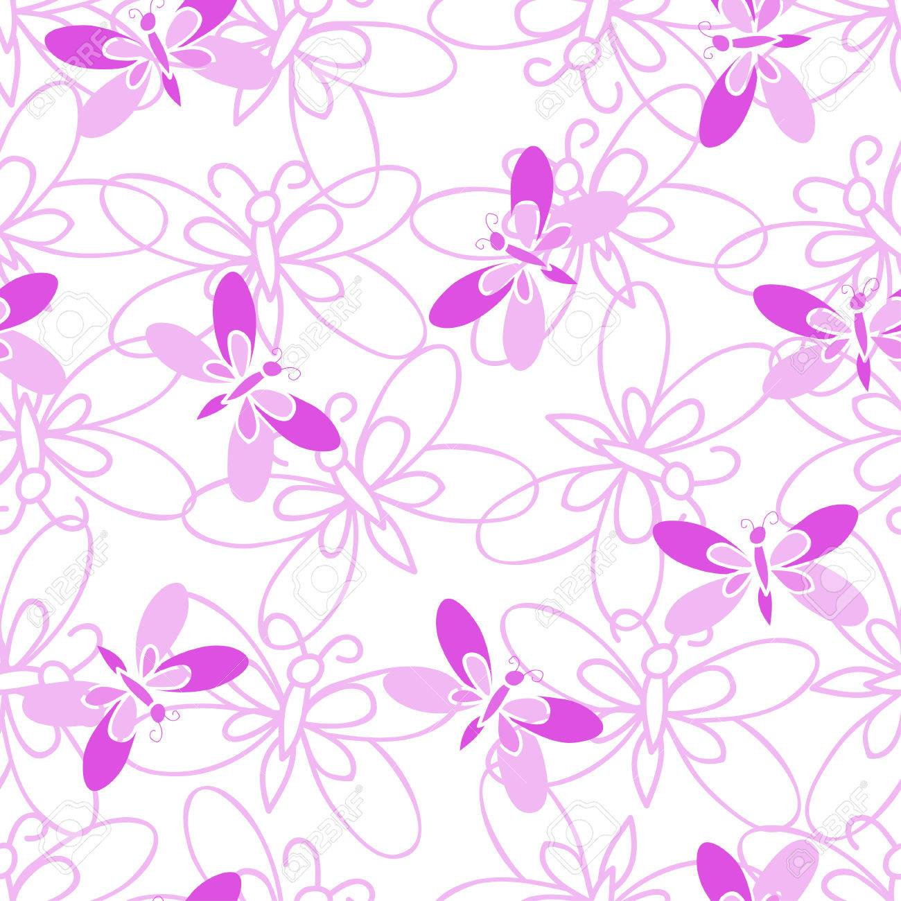 Pink Butterfly Vector Abstract Seamless Pattern On White 1300x1300