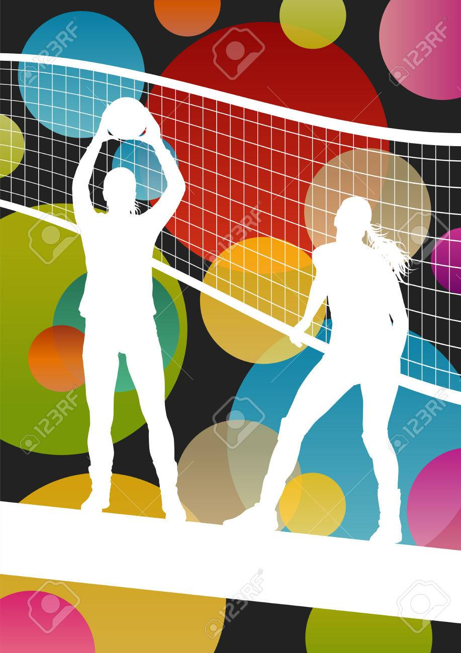 Volleyball Player Silhouettes In Sport Abstract Vector Background 917x1300