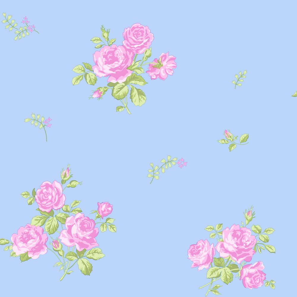 Wallpaper Pink And Blue Flowers