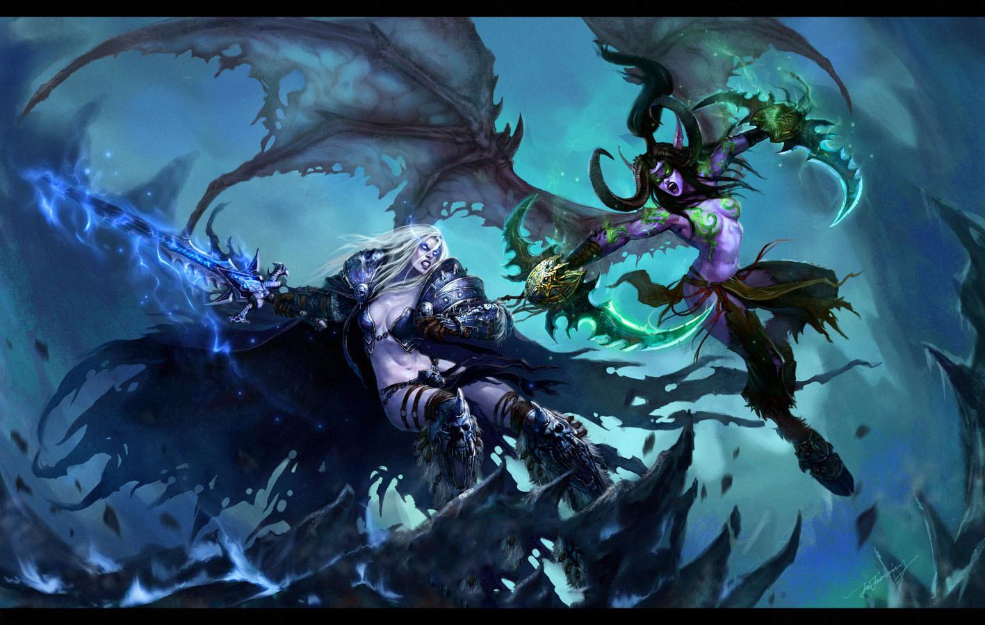 illidan arthas blizzard entertainment warcraft HD Wallpaper   Games 1417x899