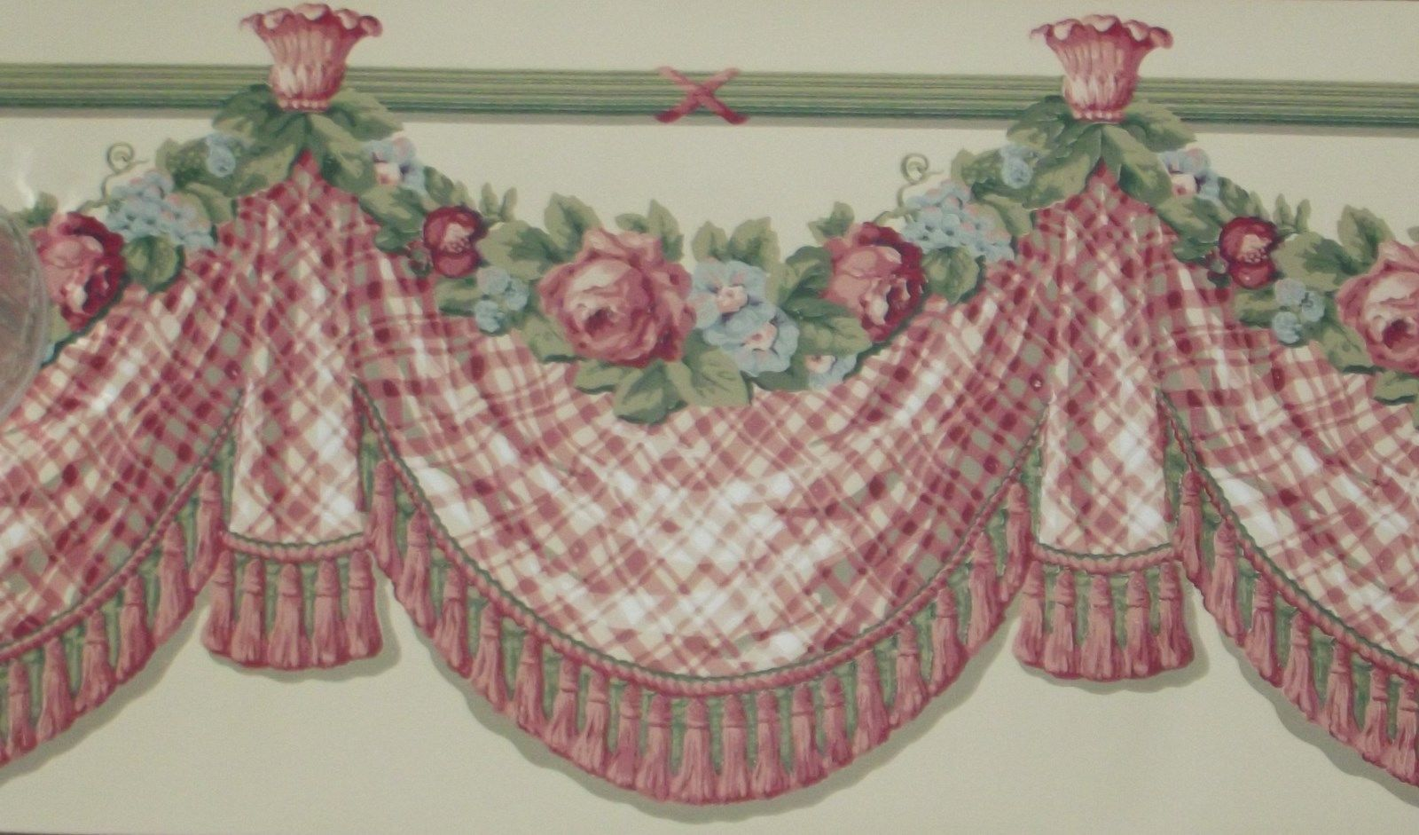 Red Rose Drapery Swag on Pale Yellow Extra Wide WALLPAPER BORDER 1600x941