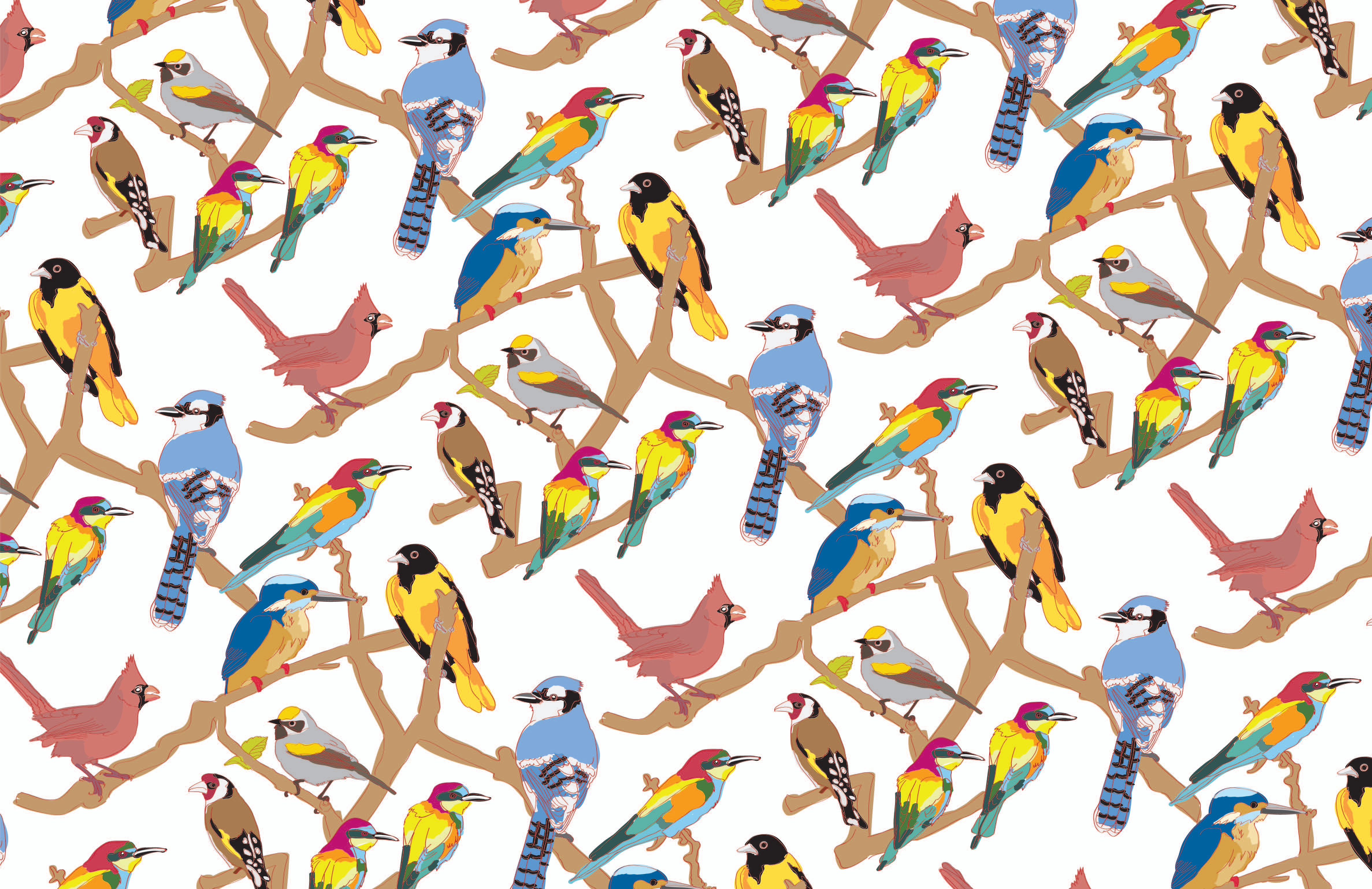 birds graphic design greeting cards illustration pattern surface 4749x3077