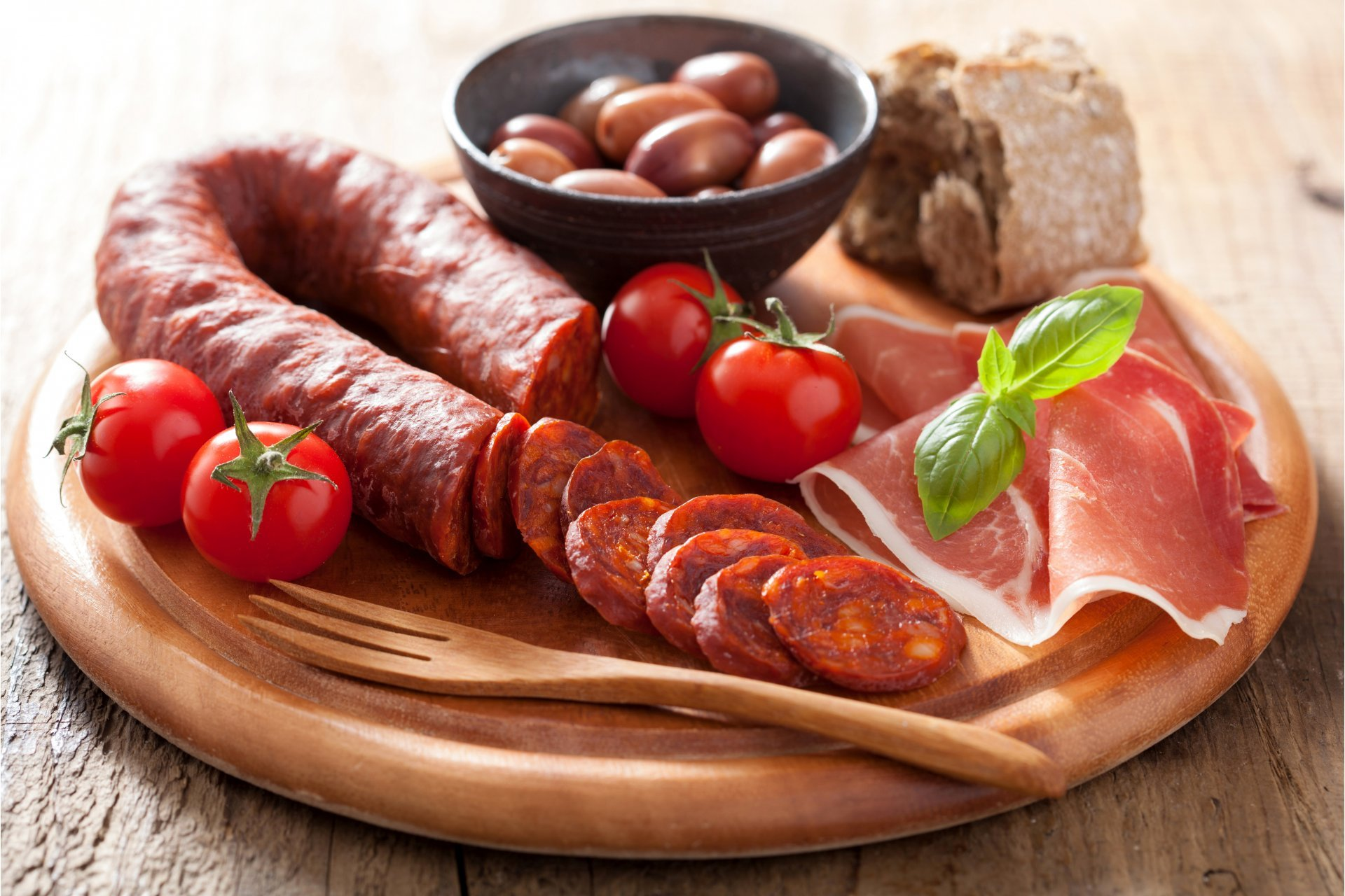 meat products sausage ham tomatoes food photo HD wallpaper 1920x1280