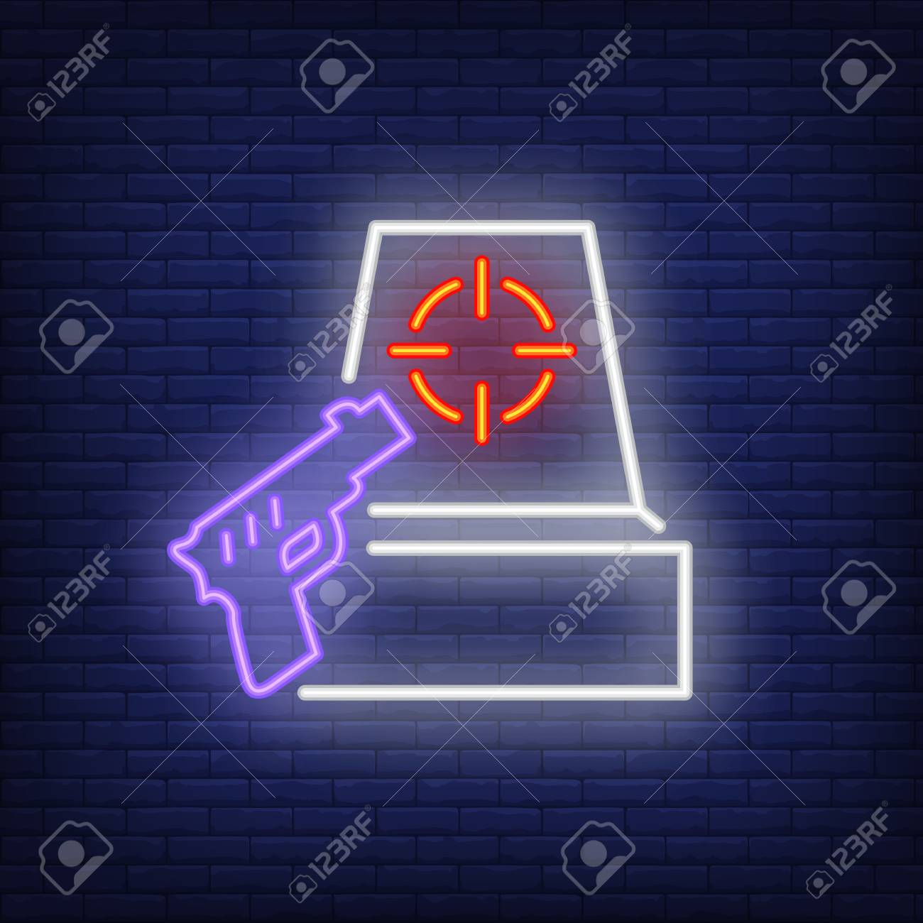 Shooter Game Neon Icon Gun And Target On Brick Wall Background 1300x1300