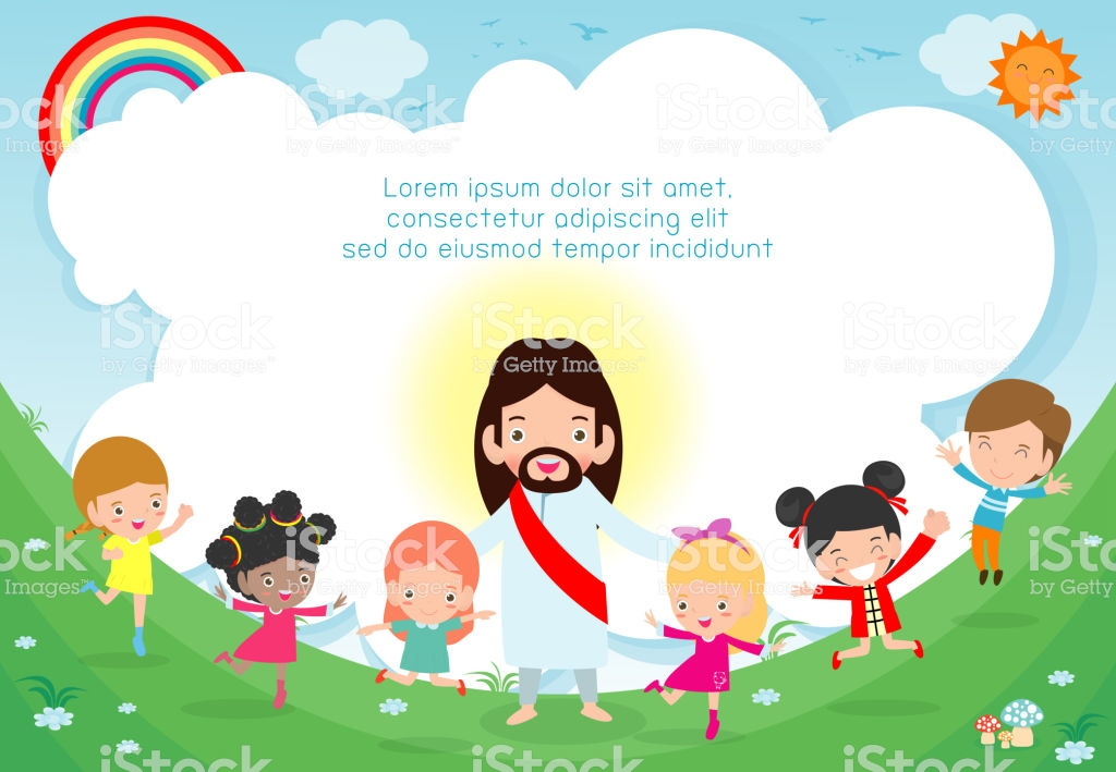 Jesus Christ And Group Of Happy Children Multicultural Kids In The 1024x709