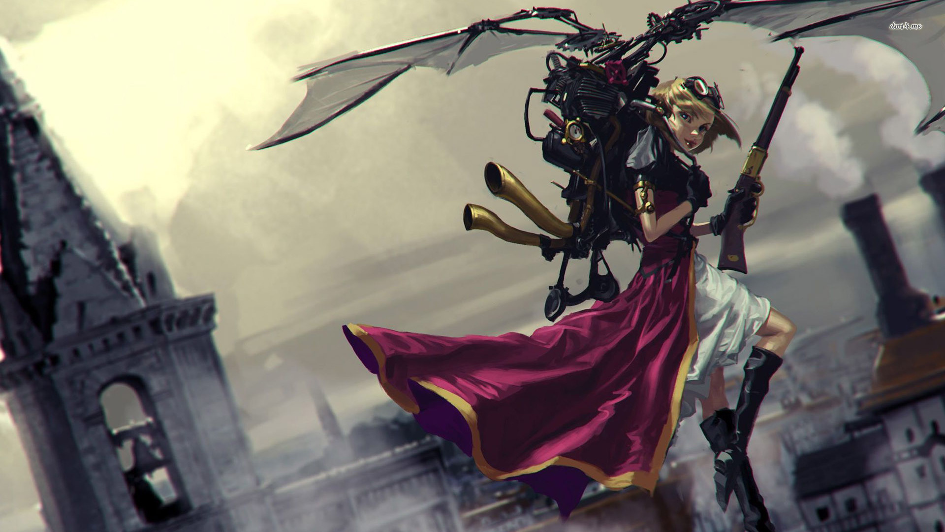 wallpaper 23660 girl steampunk jetpack 1920x1080 fantasy wallpaperjpg 1920x1080