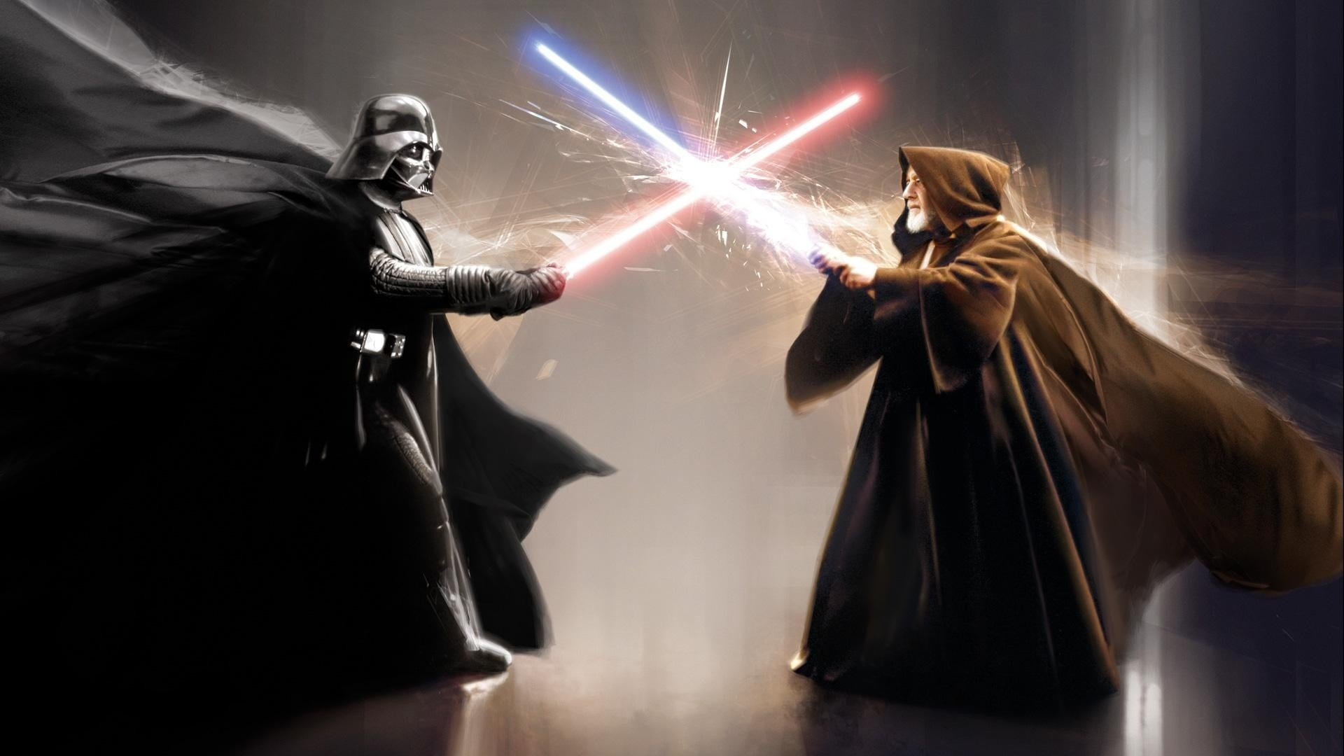 Darth Vader Obi Wan Kenobi movies star wars sci fi weapons lightsaber 1920x1080