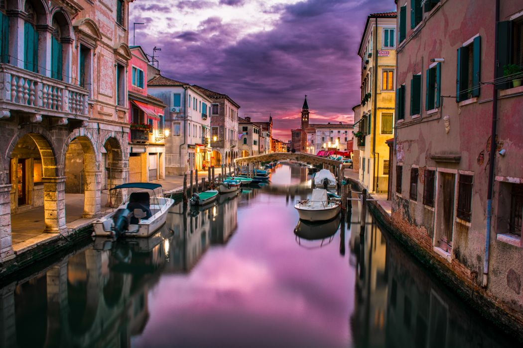 Boats buildings canal city clouds reflection river sky venice 1050x700