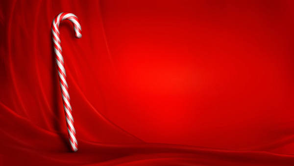 Christmas Red Background with Candy Cane 600x338