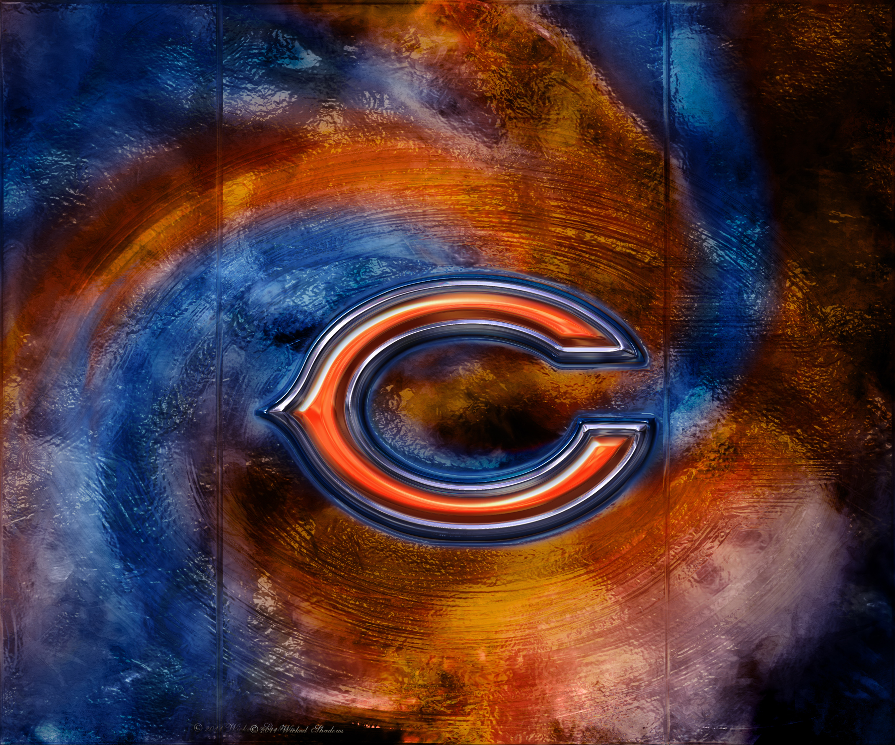 Wallpapers By Wicked Shadows Chicago Bears 3D Logo Wallpaper 1802x1500
