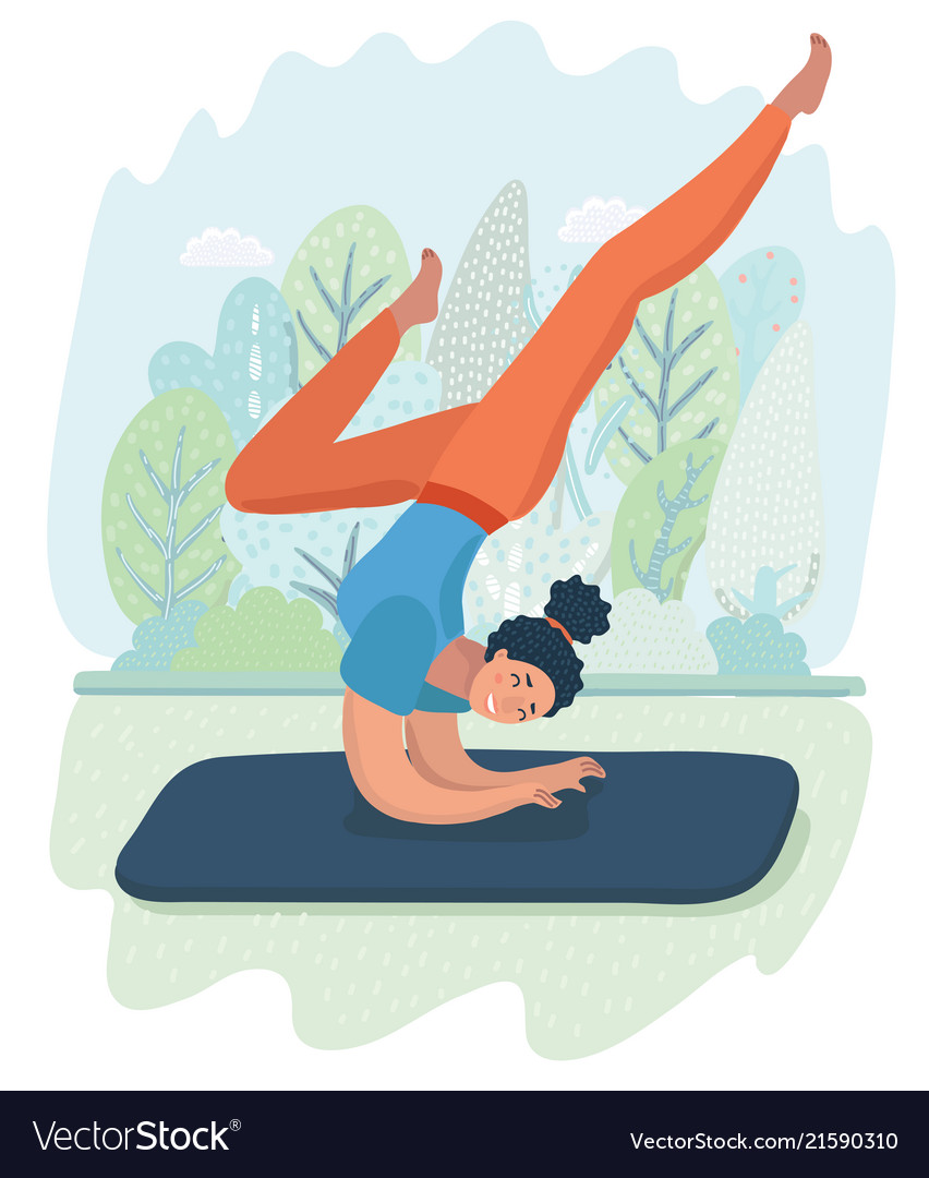 Woman posture yoga with park background Royalty Vector 852x1080