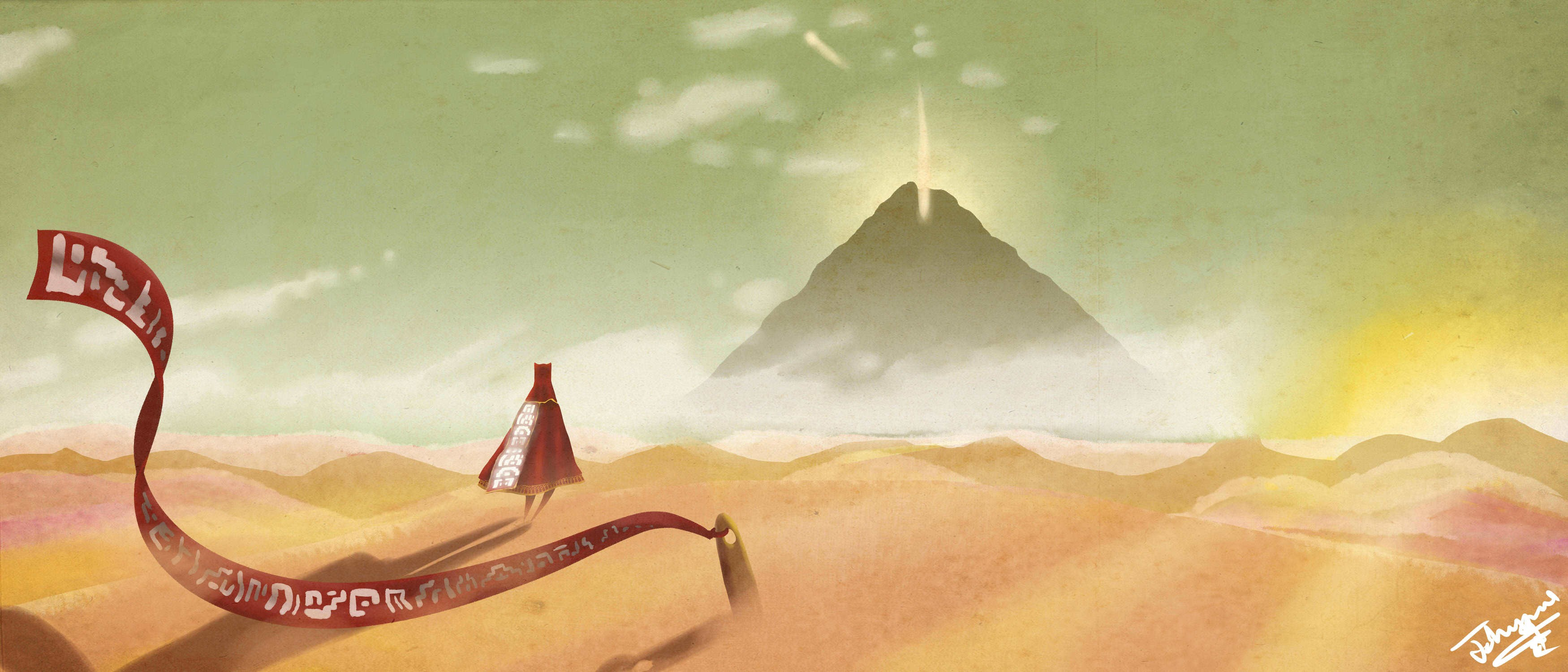 Journey game video games wallpaper 3500x1500
