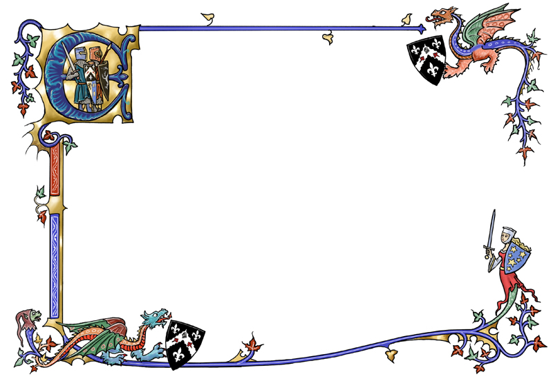 Medieval border with dragons by dashinvaine 800x561