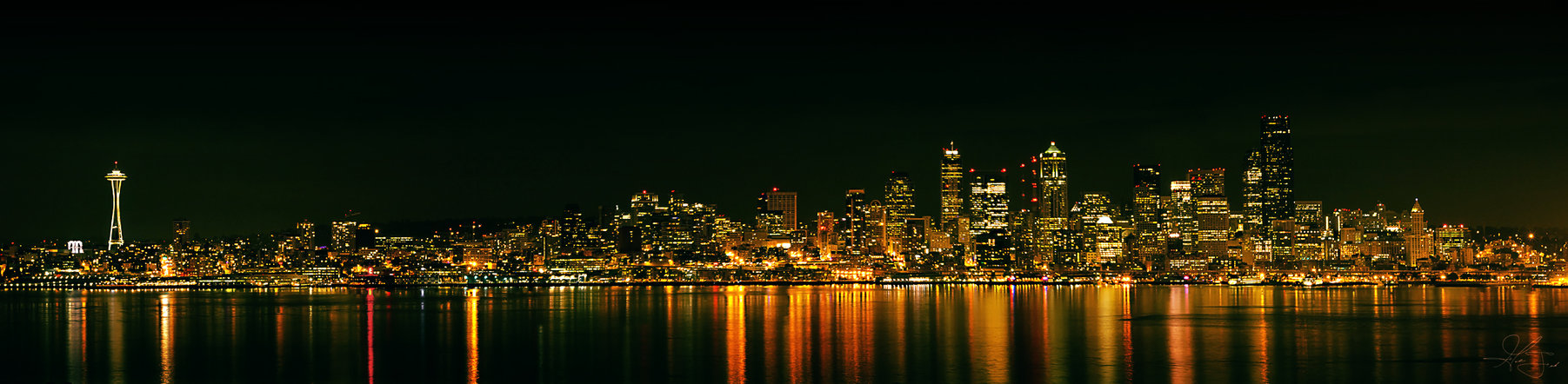 Night Seattle Skyline Wallpaper Pictures 1803x442