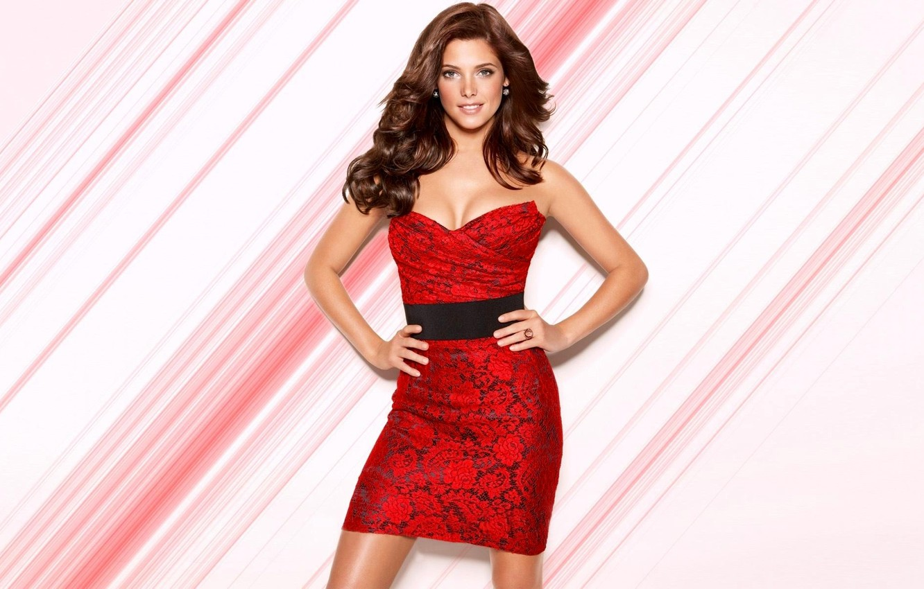 Wallpaper girl red dress actress brunette photoshoot Ashley 1332x850