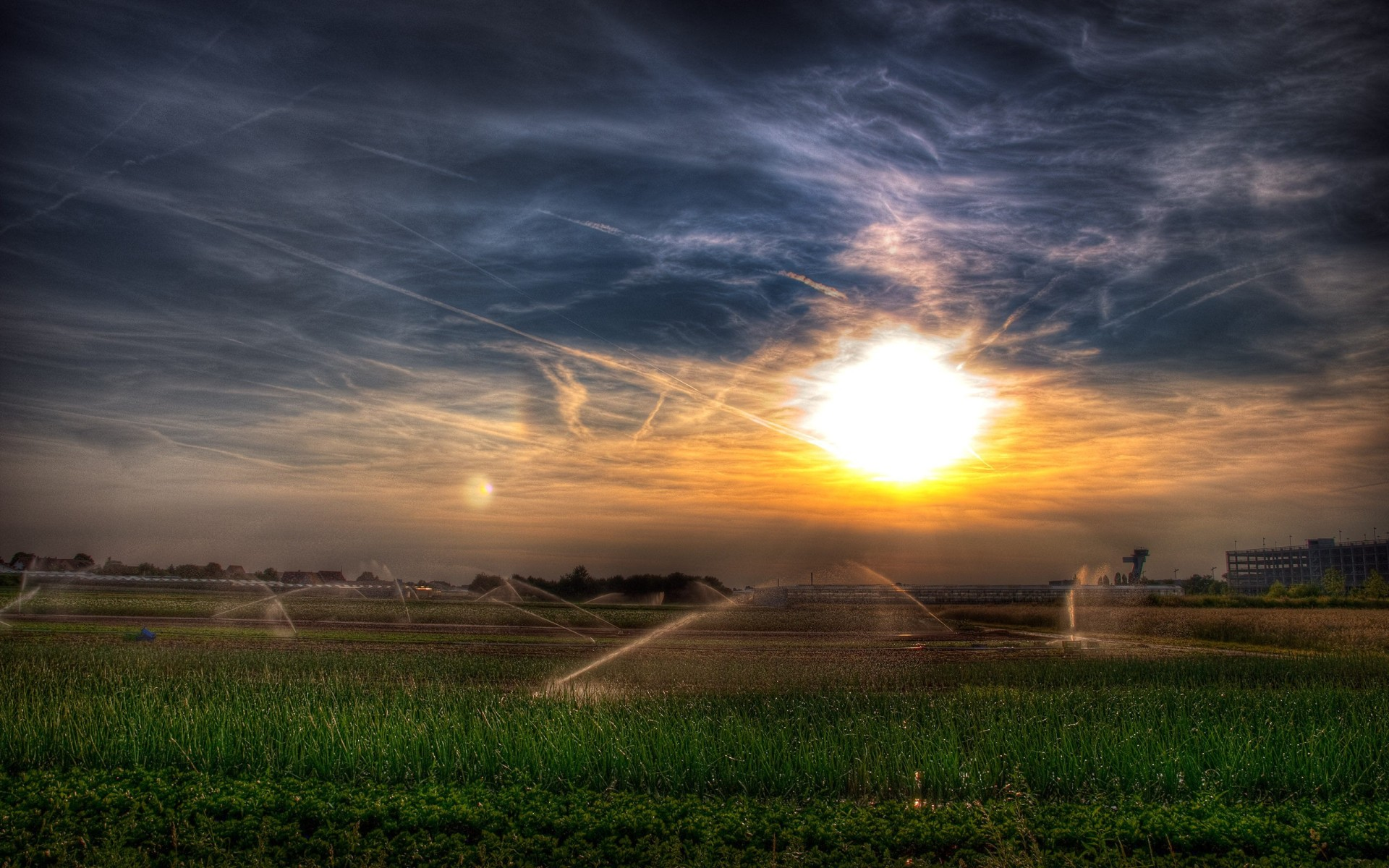 Water Irrigation System in the Field widescreen wallpaper Wide 1920x1200