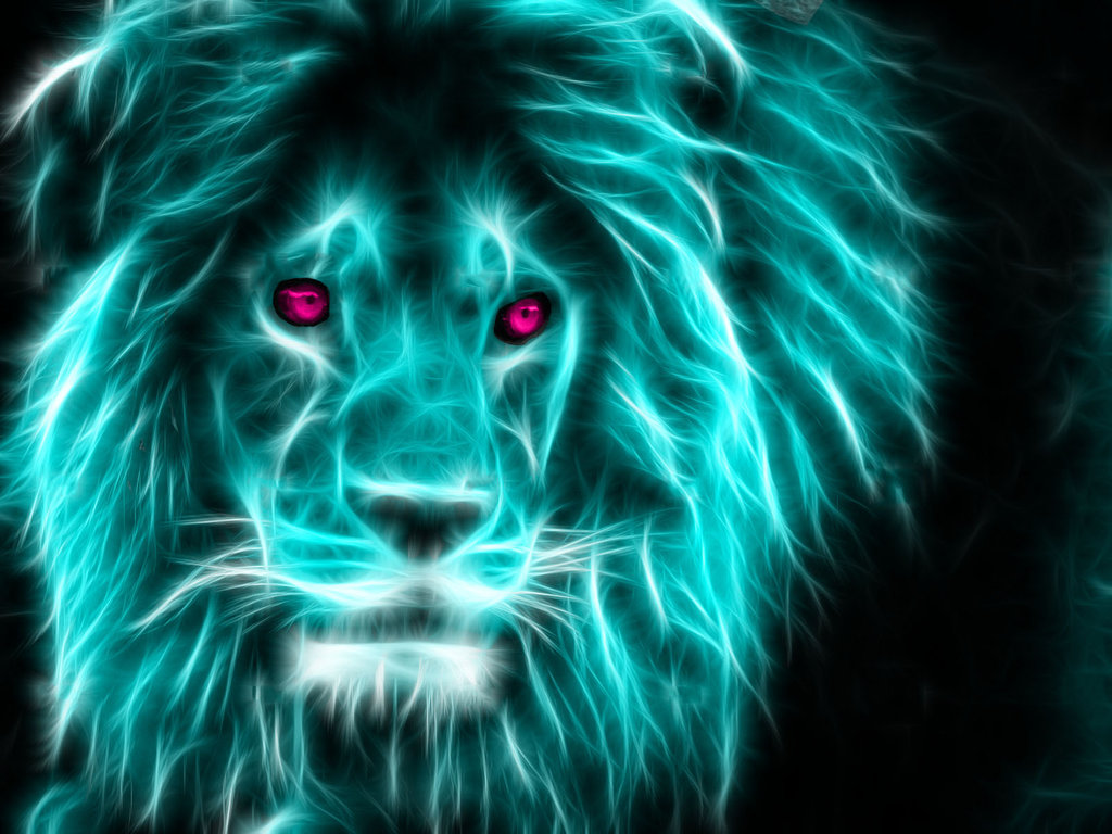Neon Lion by TheFerraci 1024x768