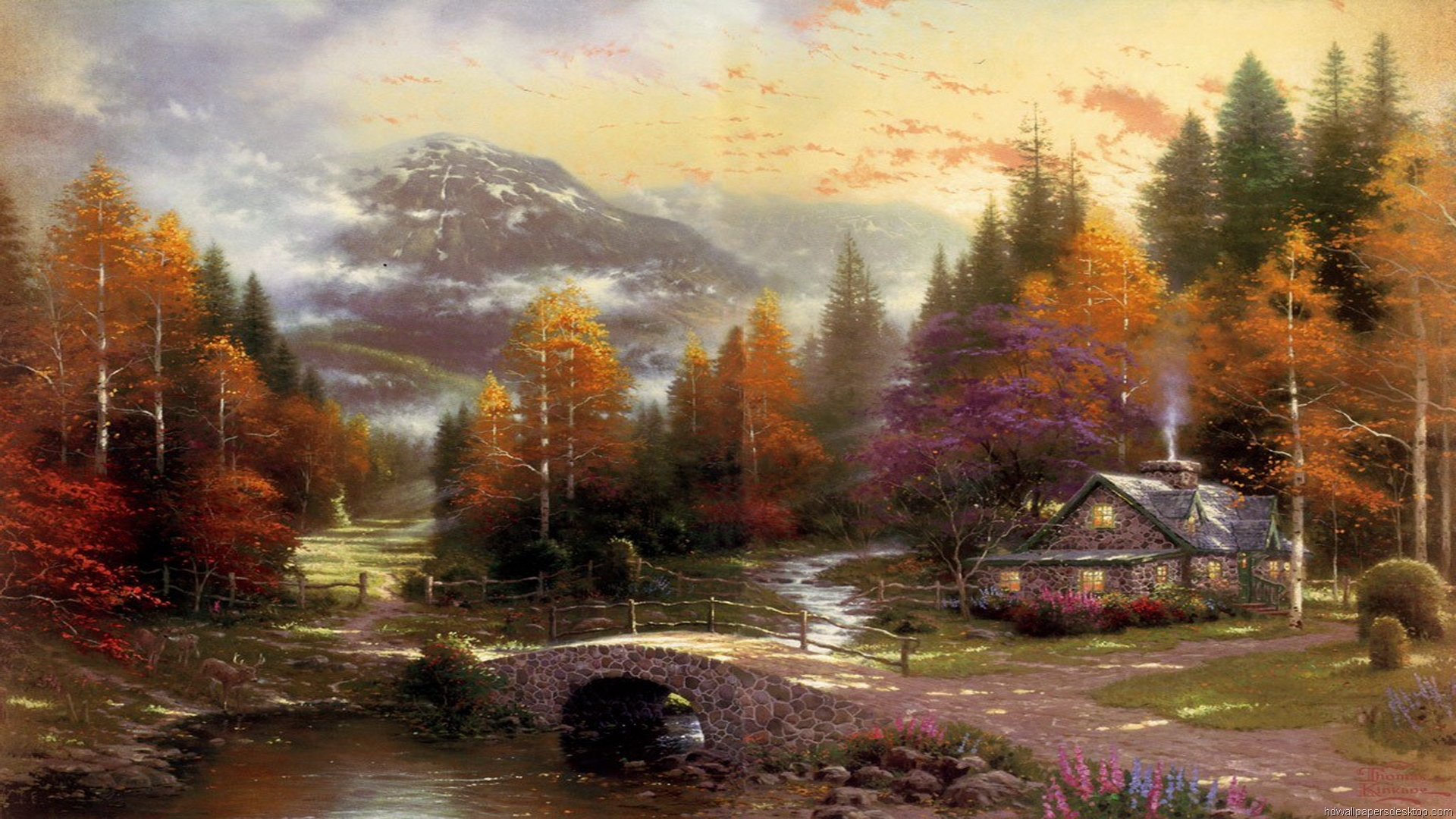 Thomas Kinkade Paintings Thomas Kinkade Wallpaper And Screensavers 1920x1080