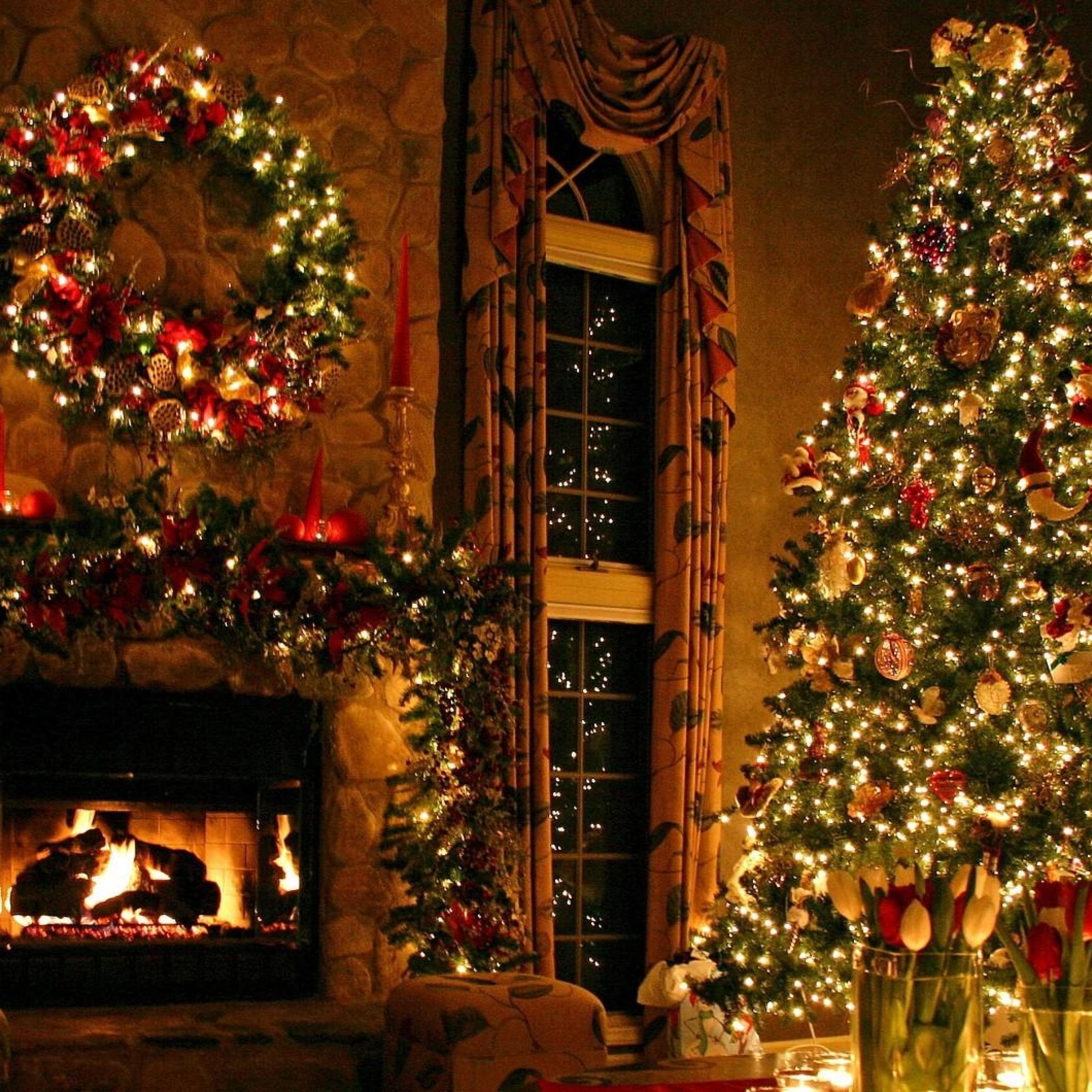 2932x2932 christmas tree ornaments fireplace Ipad Pro Retina 2932x2932