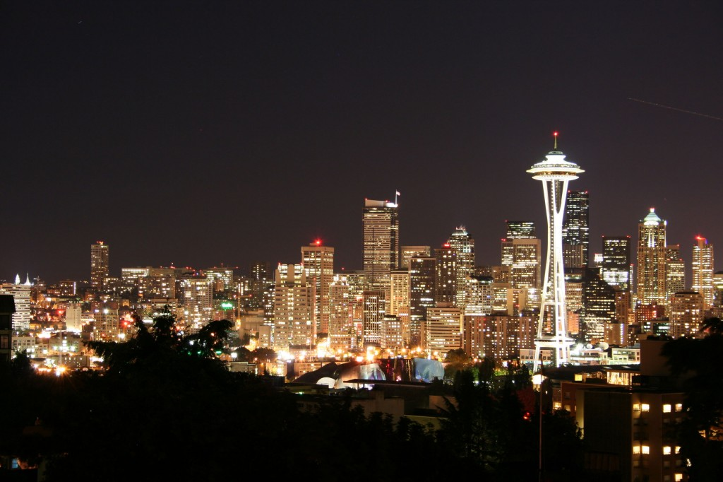 Seattle Skyline Wallpaper Night Seattle skyline wallpaper 1024x682