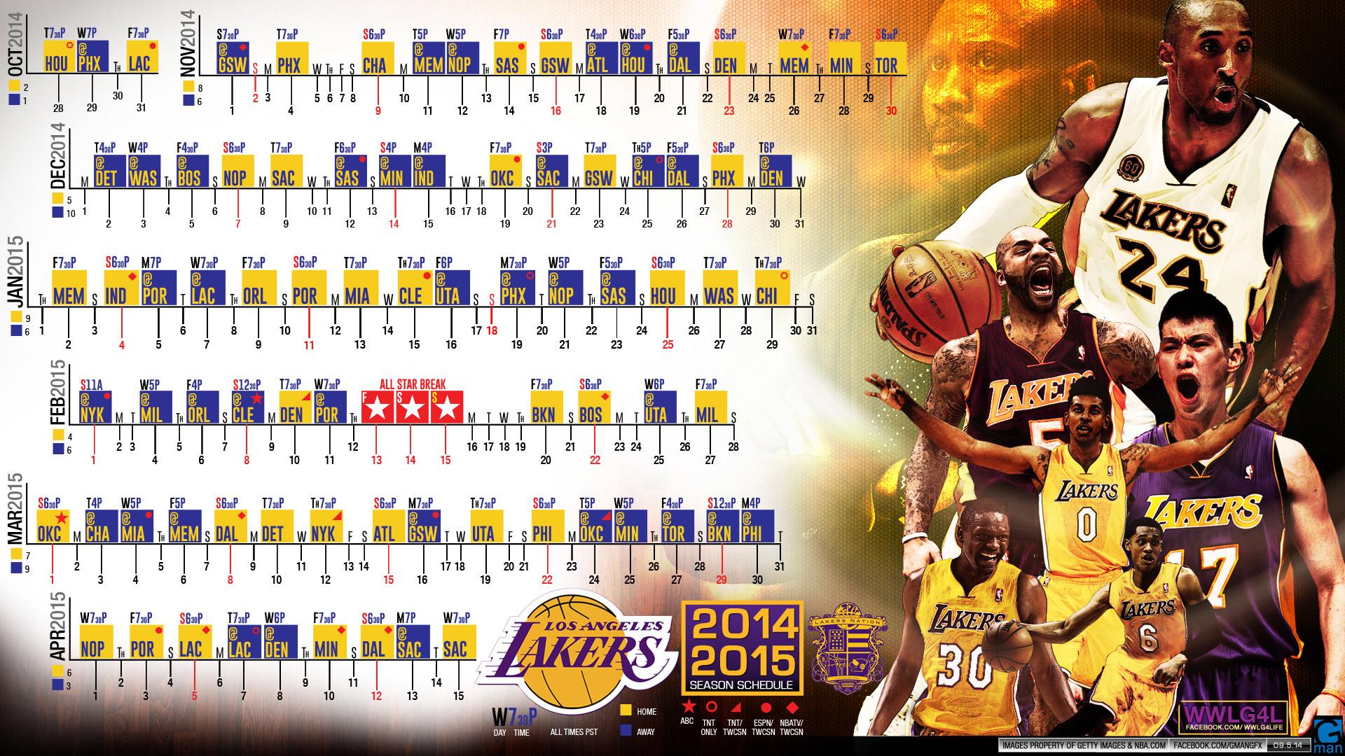 Free Download La Lakers 2014 2015 Schedule Wallpaper Basketball