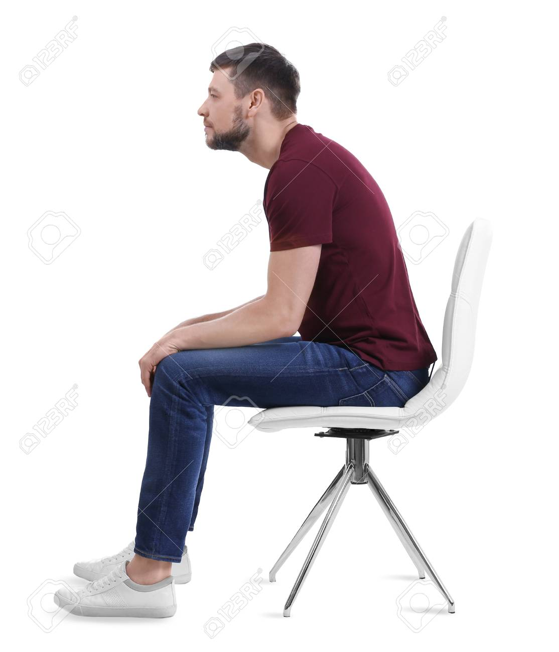 Posture Concept Man Sitting On Chair Against White Background 1114x1300