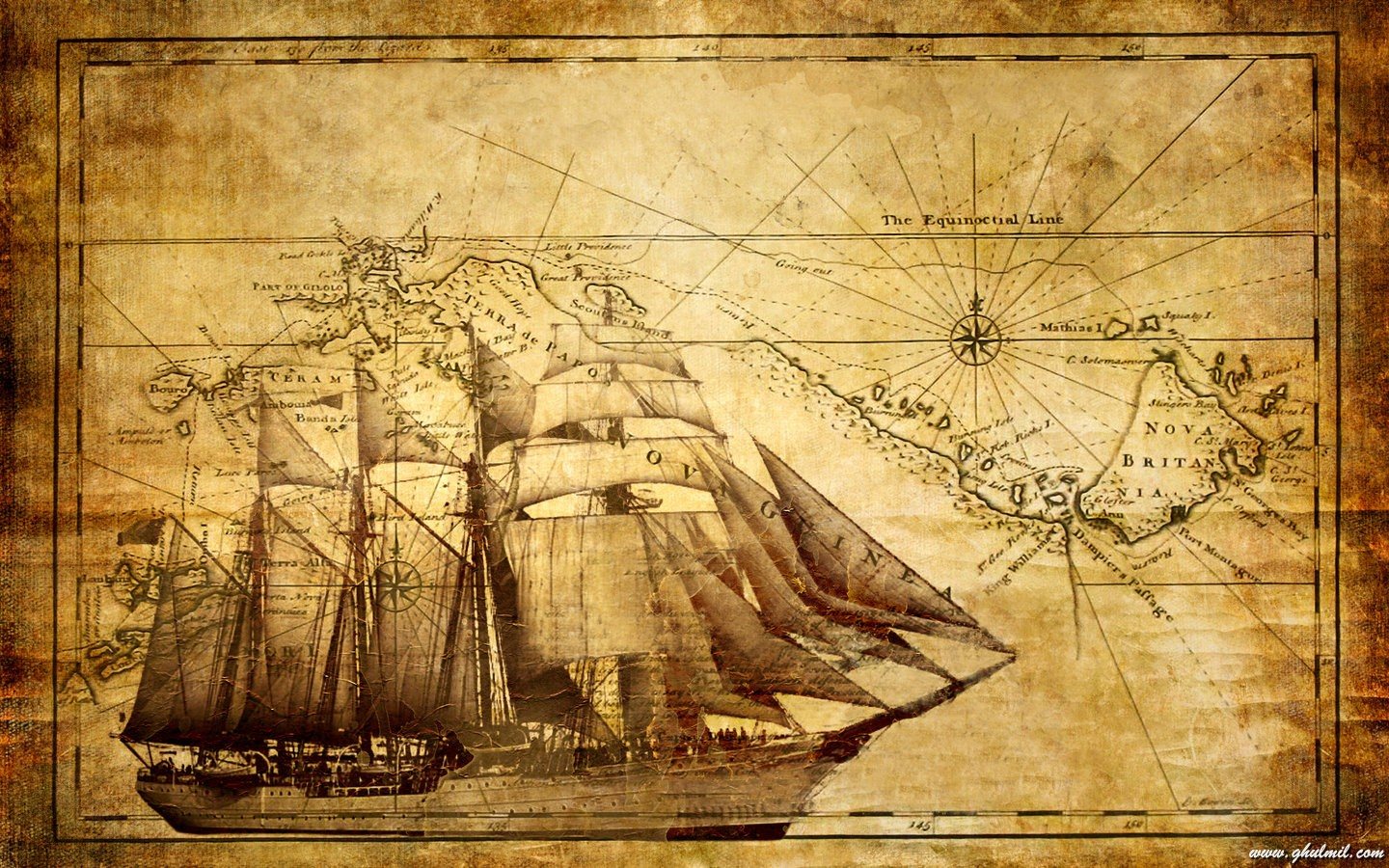 Old World Pirate Map - Map Chinoiserie Wallpaper