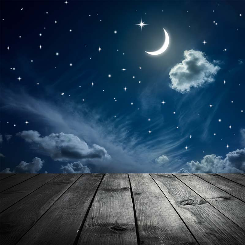 5X7ft Vinyl Photography Background moon and wooden floor Starry 800x800