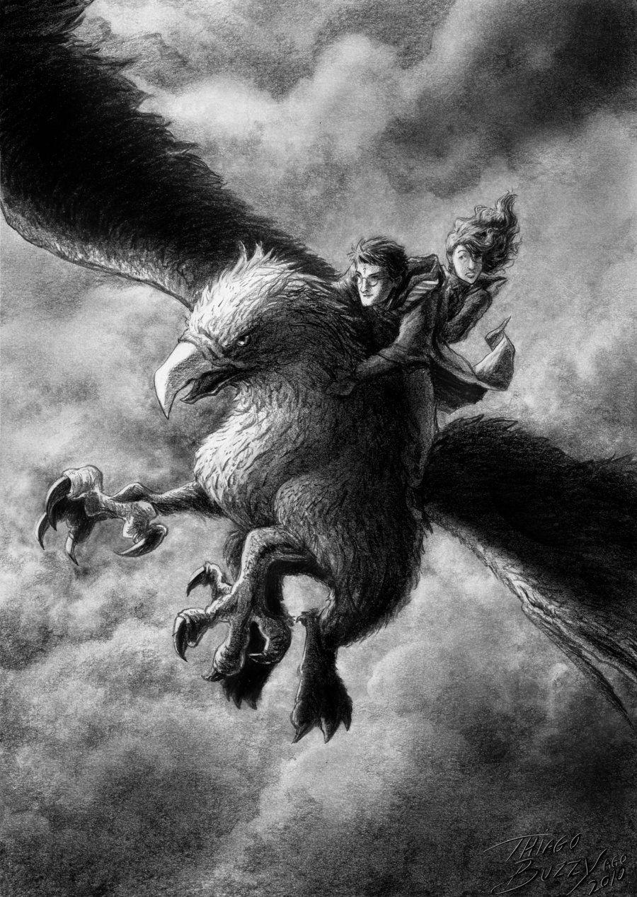 The Flight of Buckbeak by ThiagoBuzzydeviantartcom on 900x1267