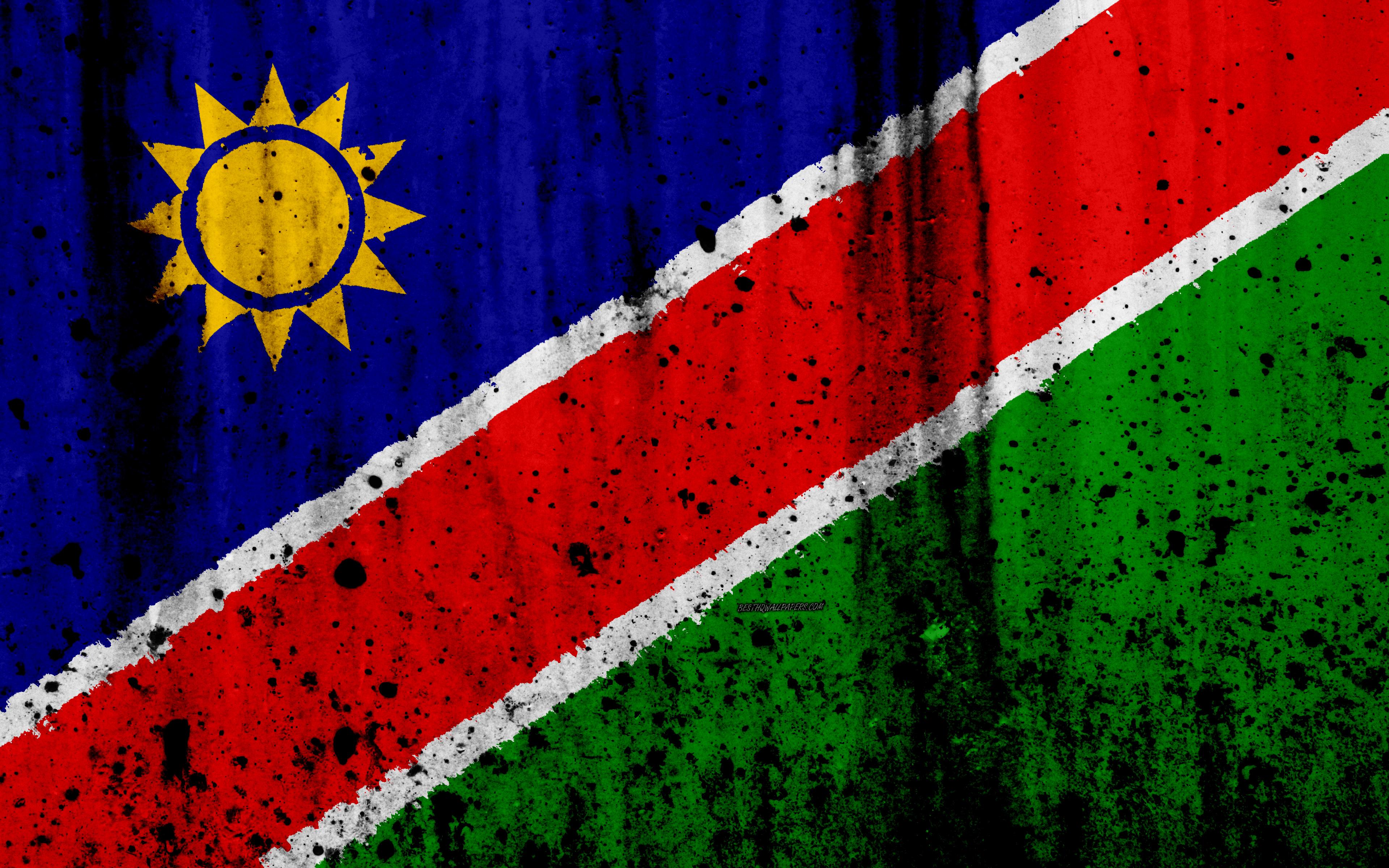 Download wallpapers Namibian flag 4k grunge flag of Namibia 3840x2400