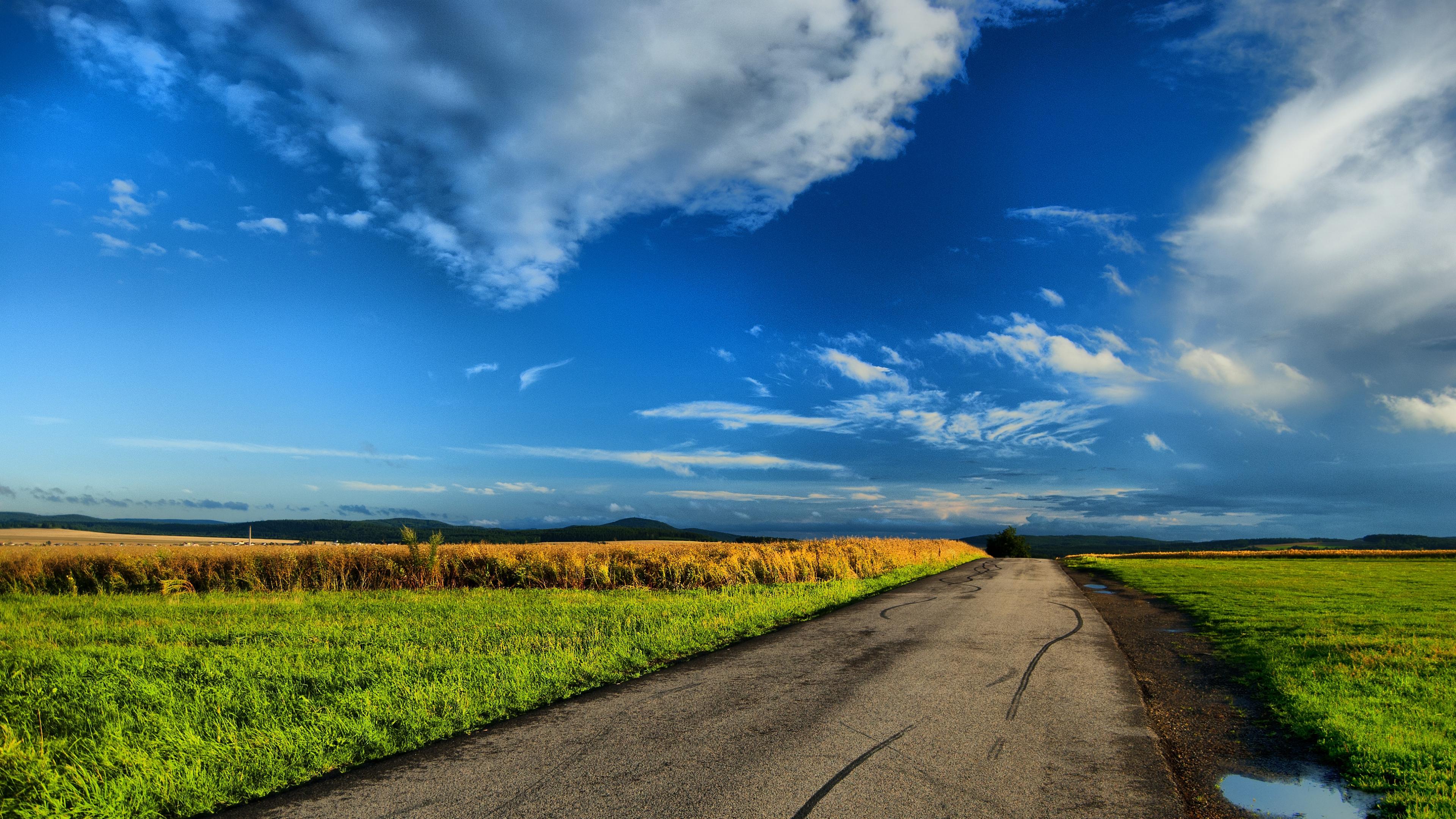 Wallpaper 38402160 field road puddles landscape 4K Ultra HD HD 3840x2160