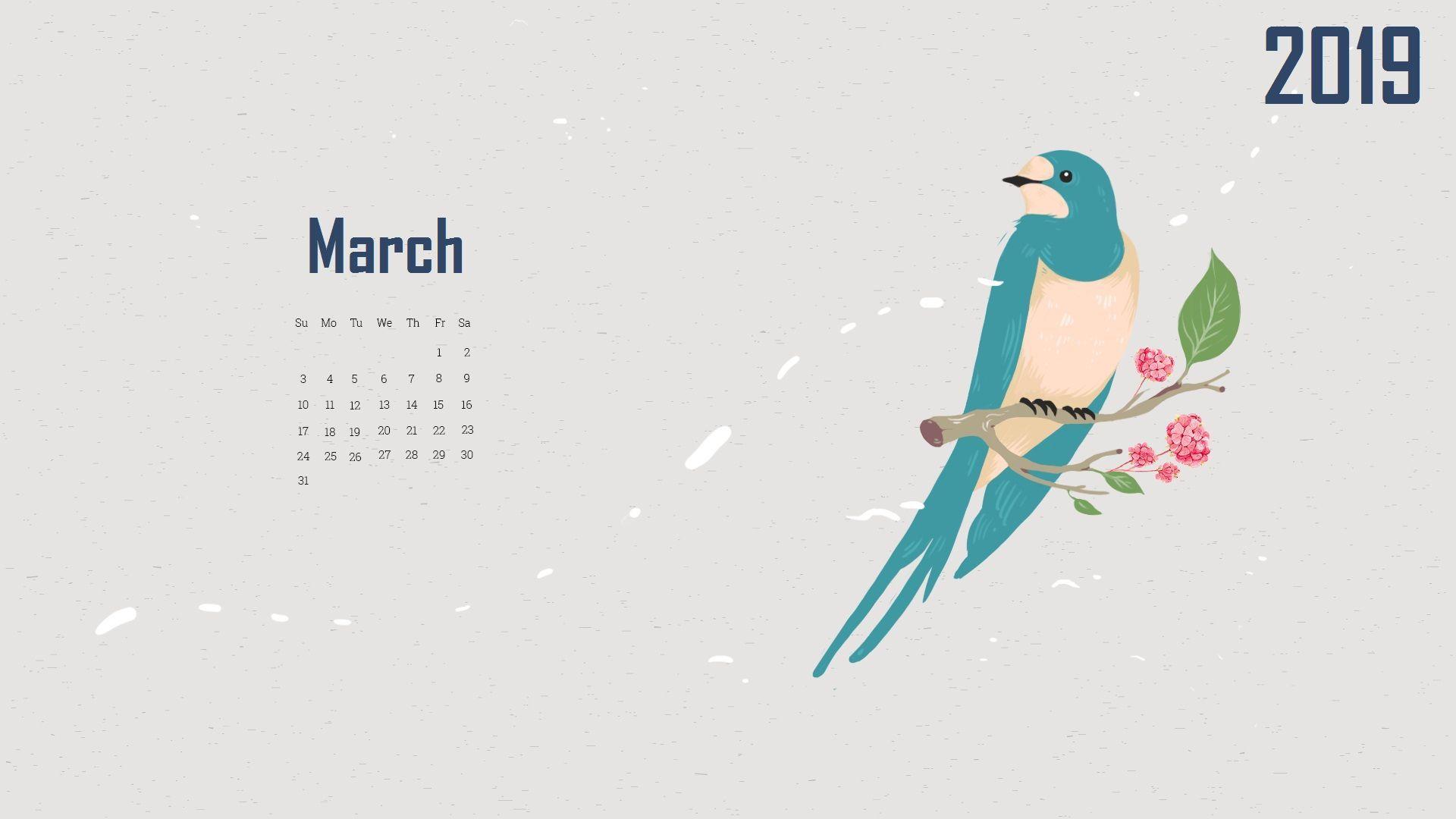 March 2019 Desktop Calendar HD Wallpaper March2019 2019Calendar 1920x1080