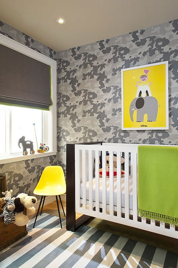 touch in the kids bedroom The camouflage wallpaper is adorable 570x856
