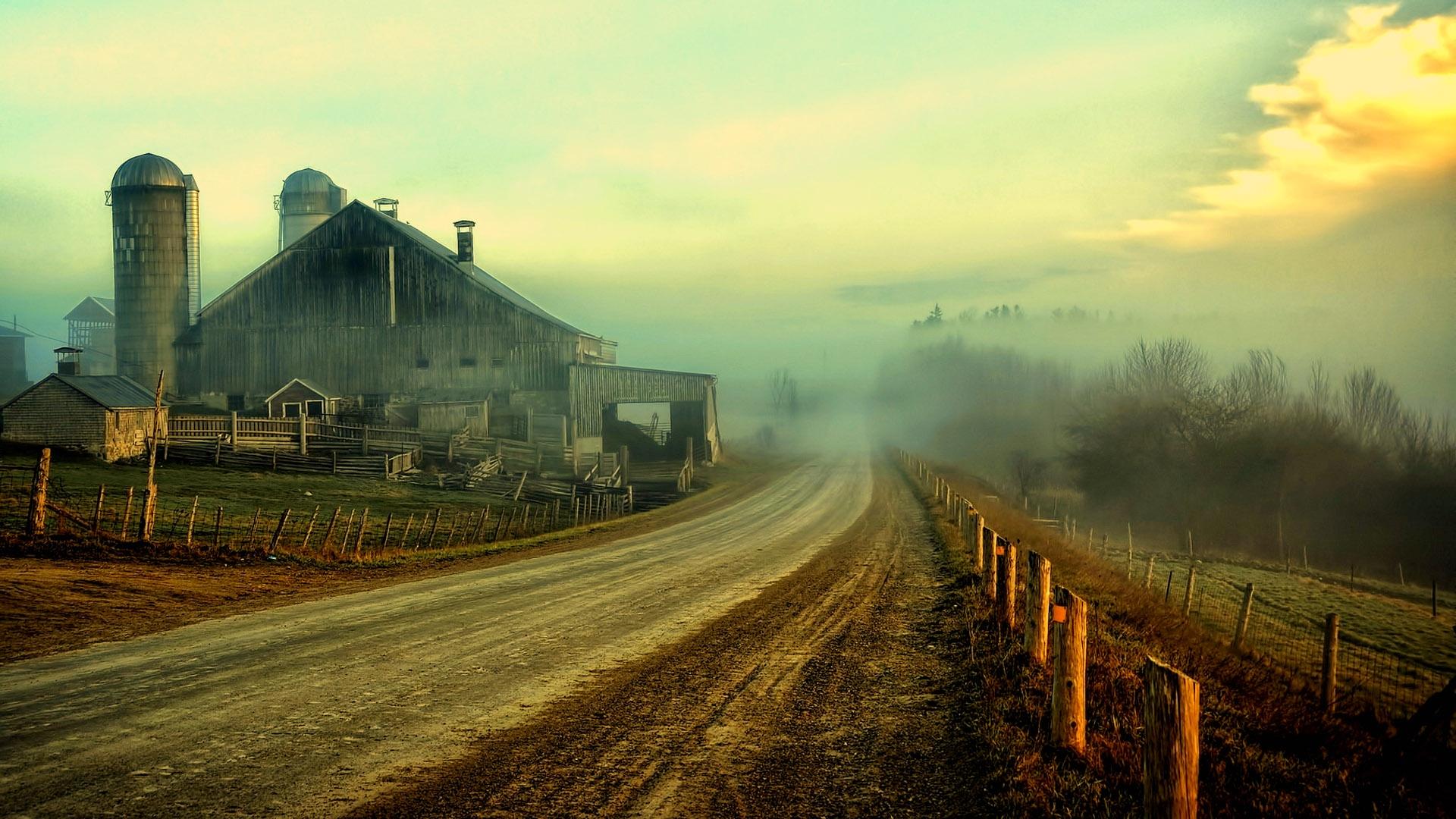 Nature landscapes farm rustic roads fence sky clouds 1920x1080